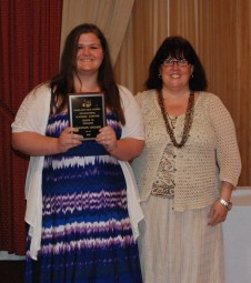 Shannon Lindahl is the grade 10 academic achiever in English, presented by English Department Chair, Carol Cahill